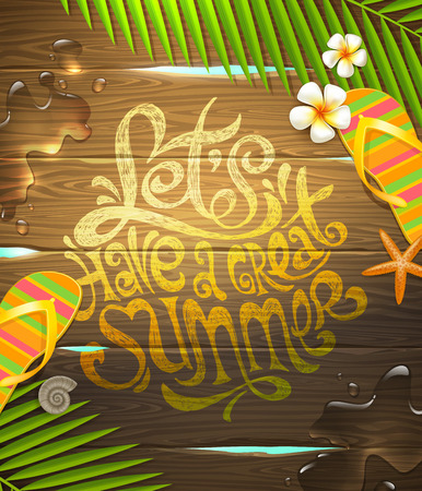 sandal tree: Summer holidays vector illustration - hand drawn lettering design painted on wooden surface