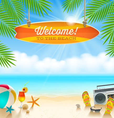 sunny beach: Beach things and old surfboard with greeting - summer holidays vector illustration