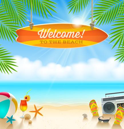 vacances d �t�: les choses de plage et vieille planche de surf avec voeux - vacances d'�t� illustration vectorielle