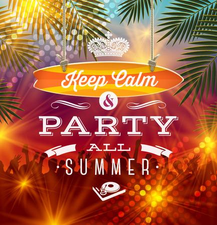 オープンエア: 夏の休日パーティーあいさつ - ベクトル型デザイン