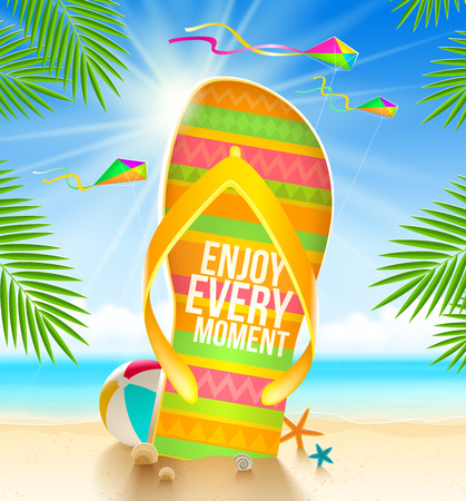 Multicolored huge flip-flop with summer greeting on the tropical beach - vector illustration