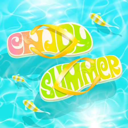flipflop: Flip-flop with summer greeting floating on water with tropical fishes - summer holidays vector design