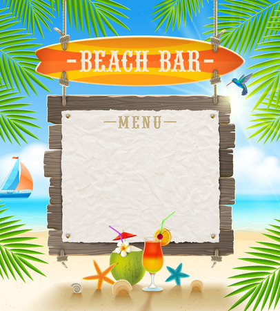 a signboard: Tropical beach bar  - signboard surfboard and paper banner for menu - summer holidays vector design Illustration