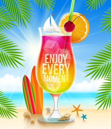 Huge glass with exotic cocktail and summer greeting on the tropical beach - vector illustration