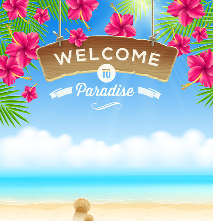 letrero: El letrero de madera Bienvenido - sobre un fondo de flores tropicales y playa paisaje marino