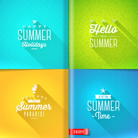 summer season: Booklet template - set of summer greeting sign with long shadow on pattern paper pages