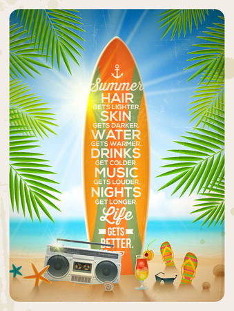 Old surfboard with summer saying and retro cassette recorder on the tropical beach