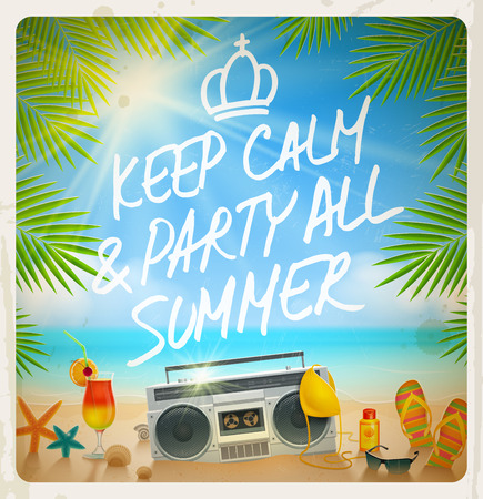 Tropical beach summer party vintage design with hand drawn greeting Vector