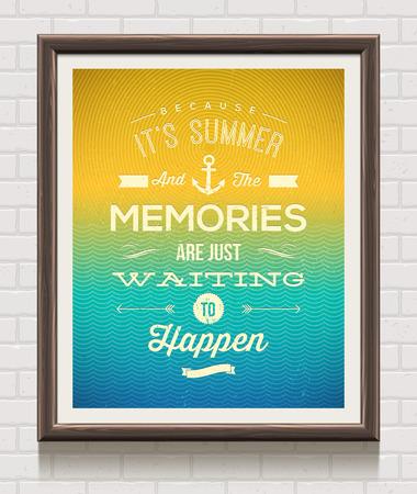 Cartel de la vendimia en el marco de madera en la pared de ladrillo citando las vacaciones de verano Foto de archivo - 28503373
