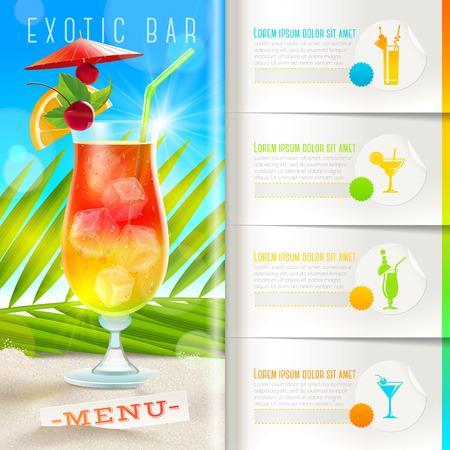 Plantilla de folletos con los elementos infográficos - menú del bar de playa tropical