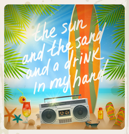 Old surfboard with summer hand drawn saying and retro cassette recorder on the tropical beach