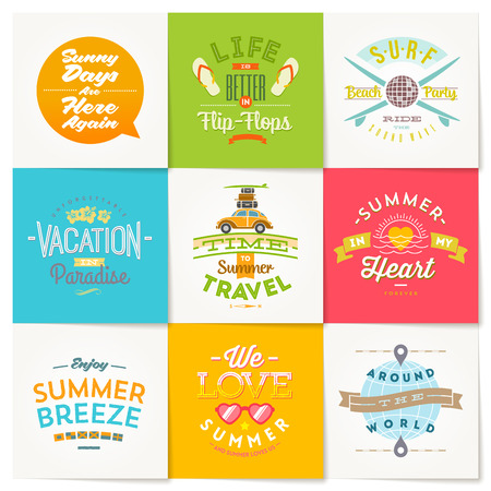 summer fun: Vector set of travel and summer vacation type design Illustration