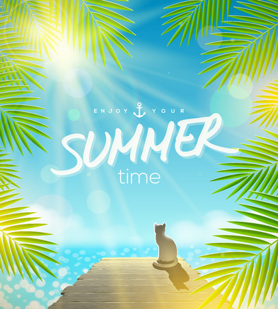 Summer Holidays vector design - Cat on the pier basking under ray of sun Illustration