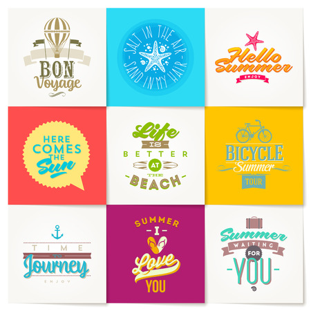 Vector set of summer vacation and travel type design Vector
