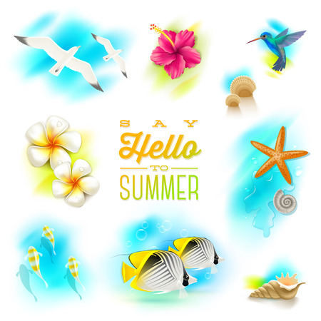 Vector set of summer vacation and tropical nature elements Vector