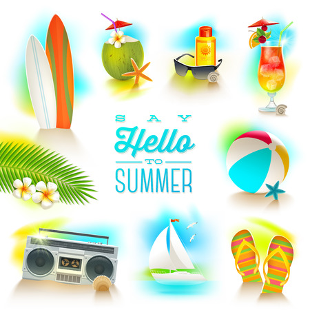 Vector set of summer and beach vacations elements