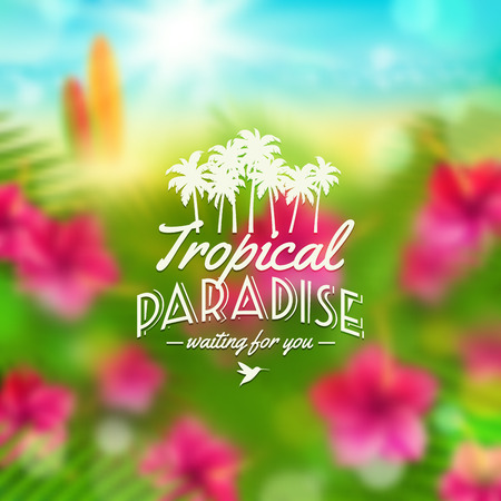 Type vector design - summers greeting sign against a tropical flora defocused background Vector