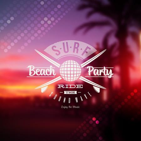 サーフ ビーチ パーティー タイプ記号デフォーカス熱帯日没の背景