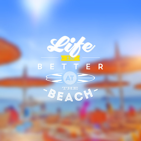 summer's: Type vector design - summers greeting sign against a defocused beach background Illustration
