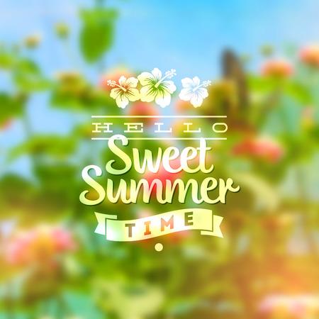 summer's: Type vector design - summers greeting sign against a floral defocused background Illustration