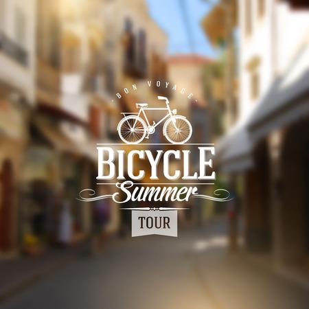 bicicleta retro: Escriba dise�o de la vendimia con la silueta de la bicicleta contra un fondo desenfocado antigua calle europea Vectores
