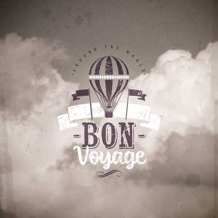 air balloon: Vintage air balloon and type design against a clouds background