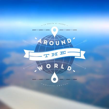En el mundo - diseño de tipo contra un paisaje de tierra desenfocado desde el avión