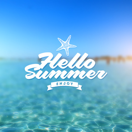 Type vector design - summers greeting sign against a tropical sea defocused background