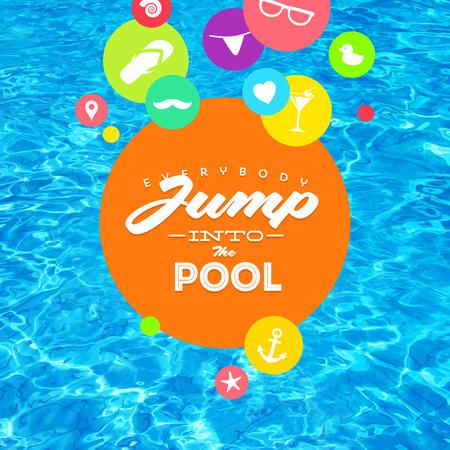 Zomervakantie kleurrijke vector illustratie met zwembad water en het type ontwerp