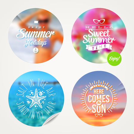 Summer holidays and tropical vacation - set of colorful sticker with type design on a defocused background Vector