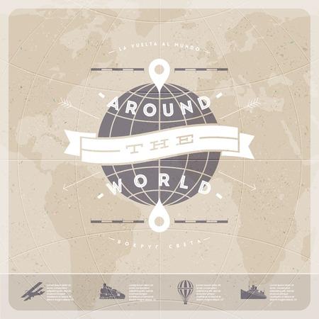 環遊世界 - 旅行復古式設計,與世界地圖和老交通 向量圖像