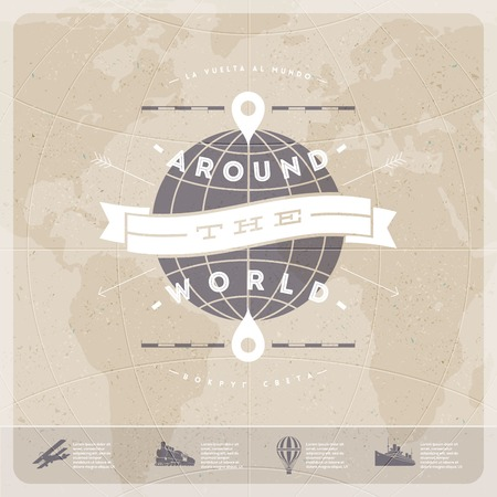 Around the world - travel  vintage type design with world map and  old  transport Ilustracja