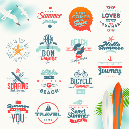 surfboard: Vector set of travel and summer vacation type design Illustration