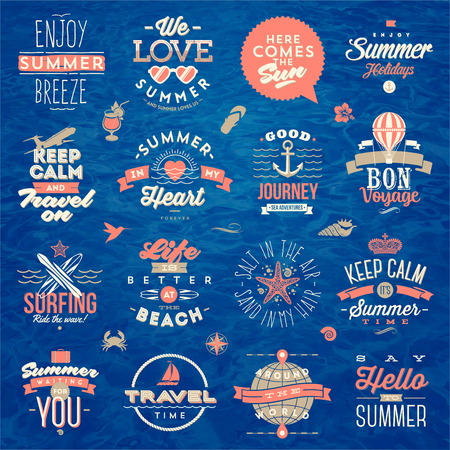 word balloon: Set of travel and summer vacation type design - vector illustration