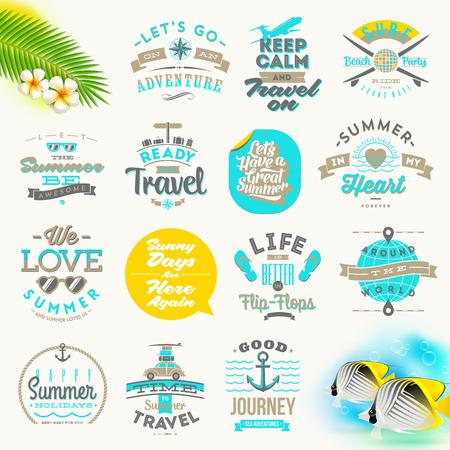 slogan: Conjunto del vector de las vacaciones de verano y el diseño del tipo de búsqueda Vectores