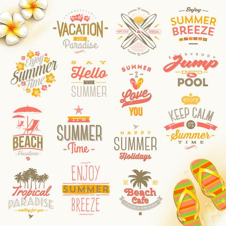 slogan: Conjunto del vector de las vacaciones de verano, vacaciones y el diseño del tipo de búsqueda