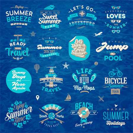 Vector illustration - Set of travel and summer vacation type design Illustration