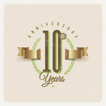 Vintage Anniversary type emblem with golden ribbon and decorative elements - vector illustration Vector