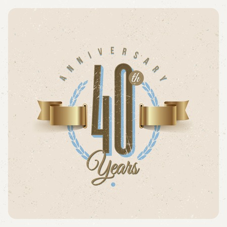 numeric: Vintage Anniversary type emblem with golden ribbon and decorative elements - vector illustration