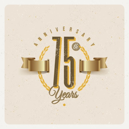 gold age: Vintage Anniversary type emblem with golden ribbon and decorative elements - vector illustration