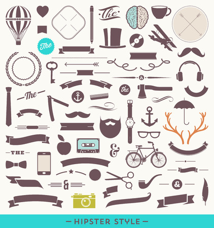 Hipster style vector set - simple silhouette design elements Vector