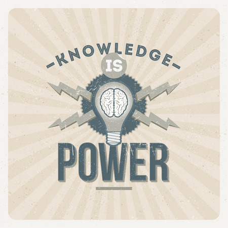Knowledge is power - quote typographical vector vintage design Иллюстрация