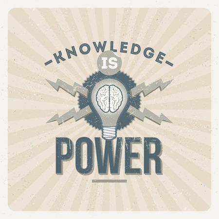 Wiedza to potęga - cytat typograficzne ilustracji zabytkowe projektu