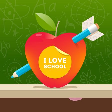 pierced: I love school - vector illustration with apple pierced by a pencil