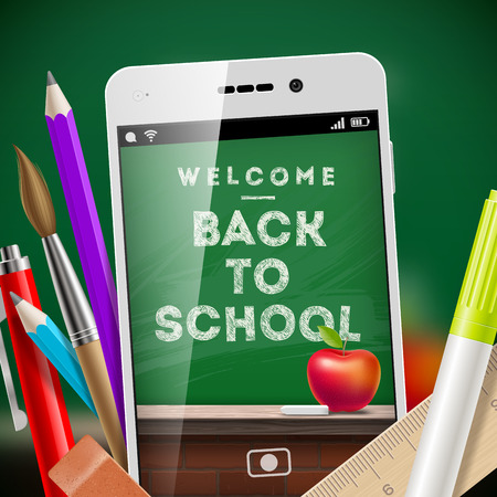 Back to school - vector illustration with smartphone and stationery items Vector