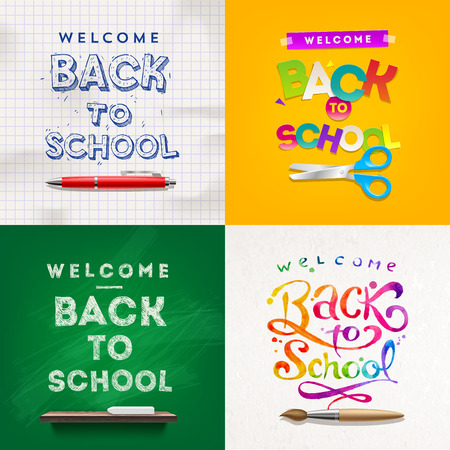 Back to school - set of vector different style vector backgrounds