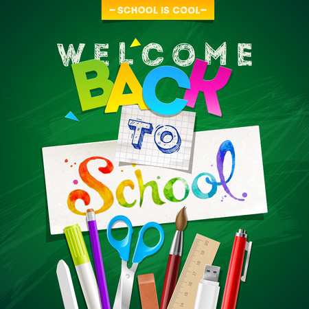 color backgrounds: Back to school - vector illustration with stationery