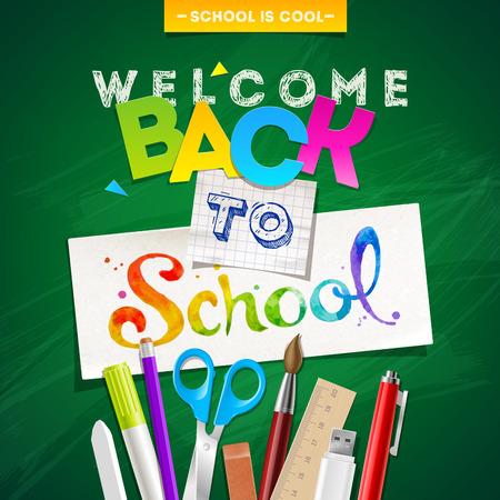 pluma y papel: Volver a la escuela - ilustraci�n vectorial con efectos de escritorio Vectores
