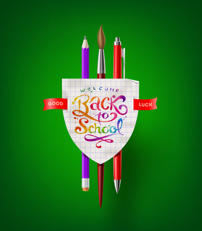 Back to school - vector coat of arms with stationery items  Vector
