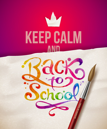 Keep calm and Back to school - vector illustration with watercolor inscription Vector
